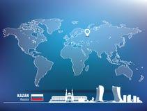 Map pin with Kazan skyline Stock Images