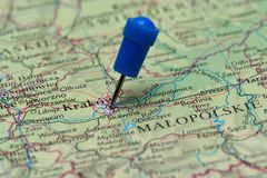 Map with pin in - of Krakow, Poland Royalty Free Stock Photography