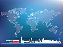 Map pin with Krakow skyline Royalty Free Stock Photos