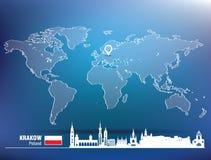 Map pin with Krakow skyline Royalty Free Stock Photos