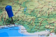 Map with pin in - of Lagos Stock Photo