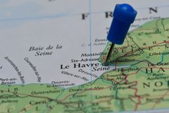 Map with pin in - of Le Havre, France Stock Photos