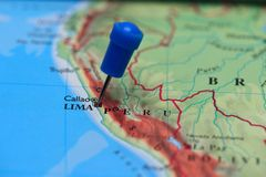 Map with pin in - of Lima, Peru Royalty Free Stock Photography