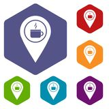 Map pin location with tea or coffee cup sign icons. Set hexagon isolated vector illustration Stock Photos