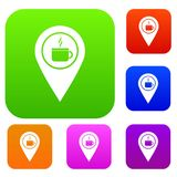 Map pin location with tea or coffee cup sign set color collection. Map pin location with tea or coffee cup sign set icon color in flat style isolated on white Stock Image