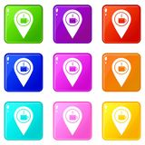 Map pin location with tea or coffee cup sign 9 set. Map pin location with tea or coffee cup sign icons of 9 color set  vector illustration Stock Photo