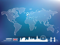 Map pin with London skyline Stock Image