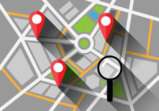 Map with a pin and looking glass long shadows Royalty Free Stock Photo