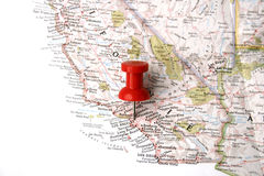 Map with pin on los angeles Royalty Free Stock Images