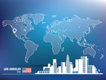 Map pin with Los Angeles skyline Royalty Free Stock Photography