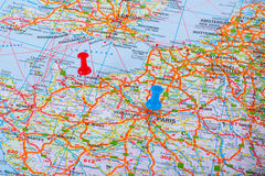 Map pin in a map of France Stock Photo