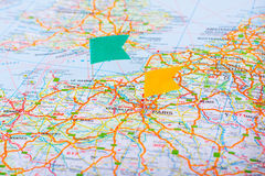 Map pin in a map of France Royalty Free Stock Images