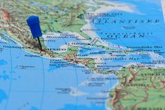 Map with pin in - of Mexico Royalty Free Stock Photo