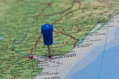 Map with pin in - of Montevideo, Uruguay Royalty Free Stock Image