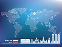 Map pin with Moscow skyline Stock Photo