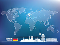 Map pin with Munich skyline Royalty Free Stock Photography