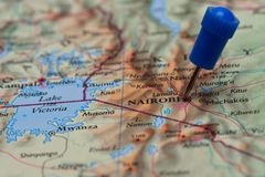 Map with pin in - of Nairobi Royalty Free Stock Photography