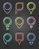 Map pin neon signs. Vector illuminated frames for place points Stock Photo