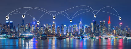 Map pin Network and Connection Technology Concept of Skyline of. New York City,Skyscrapers, downtown,USA Royalty Free Stock Photography