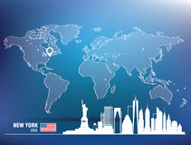 Map pin with New York skyline Royalty Free Stock Images