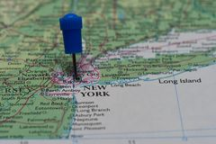 Map with pin in - of New York, USA Stock Photo