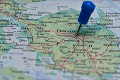 Map with pin in - of Odense, Denmark Royalty Free Stock Photo