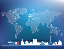 Map pin with Paris skyline Stock Photography