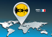 Map pin with Paris skyline Stock Image