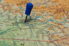 Map with pin in - of Phoenix, USA Royalty Free Stock Photos