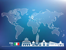 Map pin with Pisa skyline Royalty Free Stock Photography