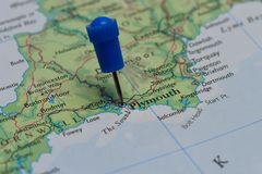 Map with pin in - of Plymouth, England Royalty Free Stock Image