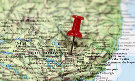 Map with pin point of Belo Horizonte Stock Photos