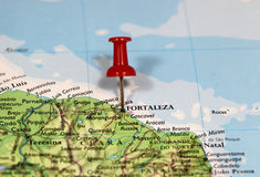 Map with pin point of Fortaleza Royalty Free Stock Photo