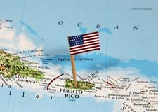 Map with pin point of Puerto Rico. With flag royalty free stock photography