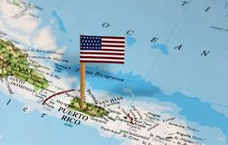 Map with pin point of Puerto Rico. With flag royalty free stock photo
