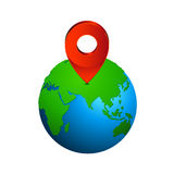 Map pin pointer icon on earth  Europe and Asia  - Elements of earth map Furnished by NASA Stock Photos