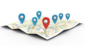 Map with Pin Pointers. 3d rendering image Stock Photo