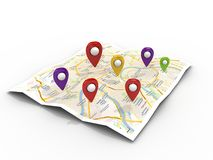 Map with Pin Pointers Stock Image