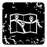 Map with pin pointers icon, grunge style Stock Photos