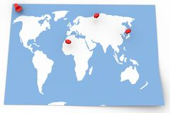 Map with Pin Pointers Royalty Free Stock Photos