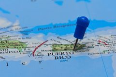 Map with pin in - of Puerto Rico Royalty Free Stock Image