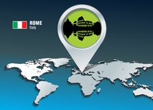 Map pin with Rome skyline Stock Image