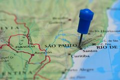 Map with pin in - of San Paulo, Brasil Stock Images