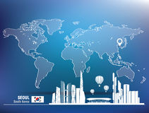 Map pin with Seoul skyline Royalty Free Stock Image