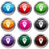 Map pin set 9 collection Royalty Free Stock Photos