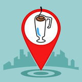 Map pin sign location icon .Coffee or cup of tea Royalty Free Stock Photo