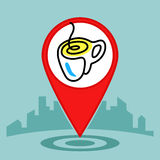 Map pin sign location icon .Coffee or cup of tea Royalty Free Stock Photos