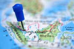 Map with pin in Singapore Royalty Free Stock Photography