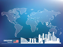 Map pin with Singapore skyline Stock Photo