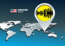 Map pin with Singapore skyline Stock Images